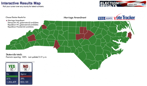 Visualized: A Closer Look at North Carolina's Vote on Marriage ...