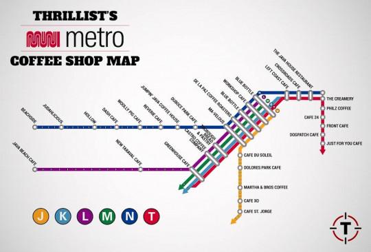 SF Muni Metro Coffee Shop Map
