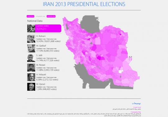 Iran 2013 Presidential Elections Map
