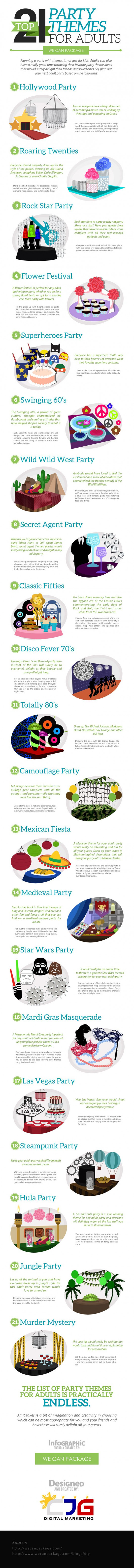 Top 21 Party Themes for Adults (Infographic)
