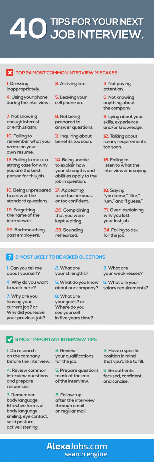 40 Tips For Your Next Job Interview!