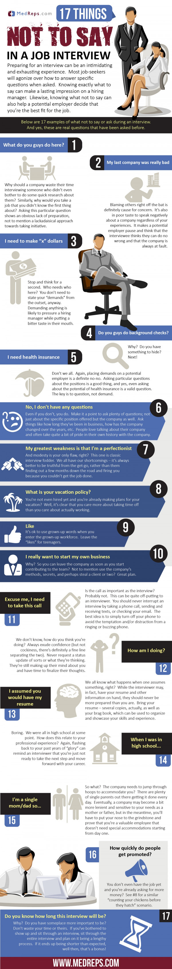 infographic 17 things not to say or ask in a job interview 17 things not to say in a job interview