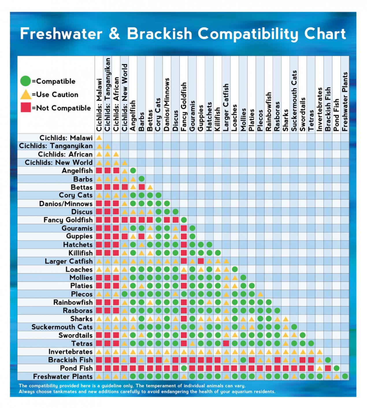 Freshwater & Brackish Fish Compatibility Chart