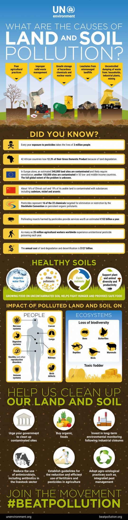 what is land pollution - infographic