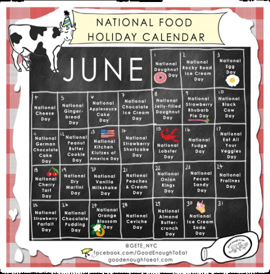 NATIONAL FOOD HOLIDAY CALENDAR - JUNE 2013